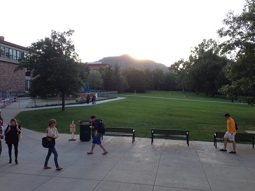 CU campus, with Rockies in the background