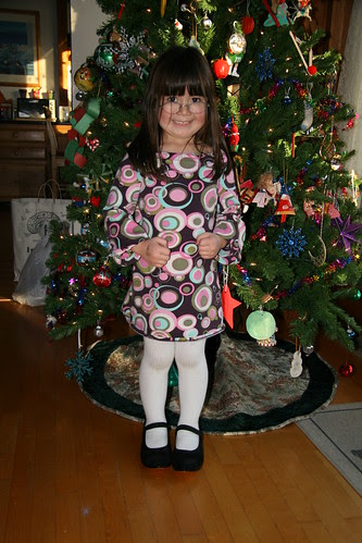 Dova in front of the Christmas Tree