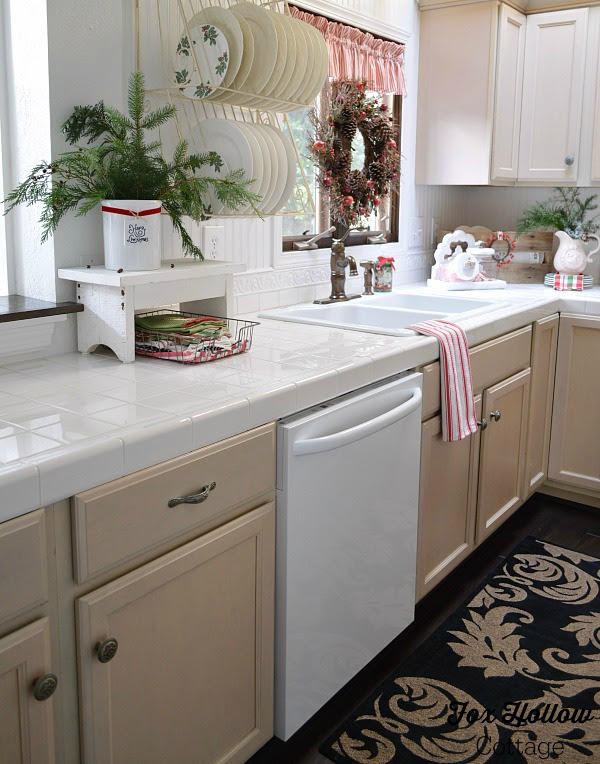 Cottage Kitchen, French Drying Rack - Christmas home tour foxhollowcottage