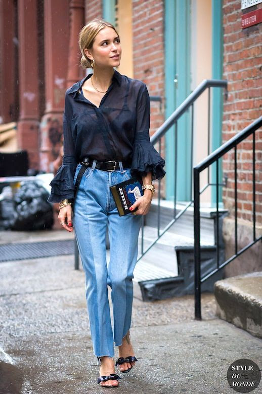 Le Fashion Blog Street Style Pernille Teisbaek Nyfw Ruffle Cuff Blouse Olympia Le Tan Embroidered Clutch Vetements Jeans Sandals Via Style Du Monde