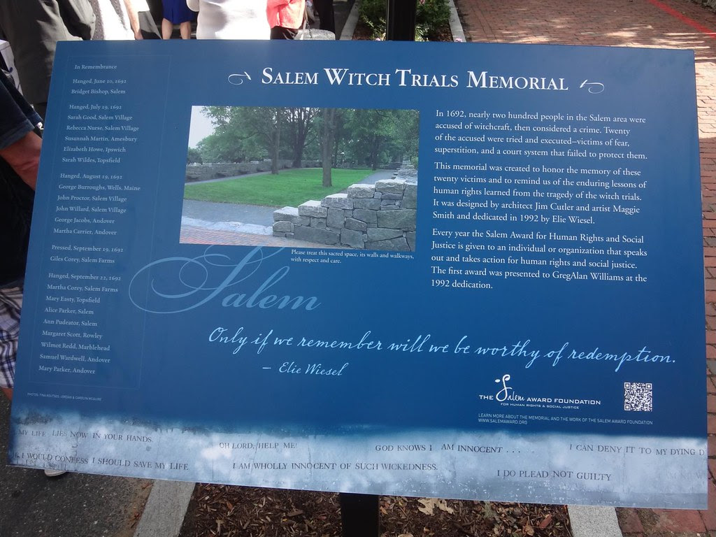 Salem Witch Trials Memorial sign
