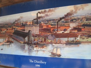 A drawing of the original distillery on the waterfront - now landfill. Copyright Deborah Abrams Kaplan