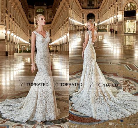 Eddy K 2017 Mermaid Lace Wedding Dresses Open Low Back