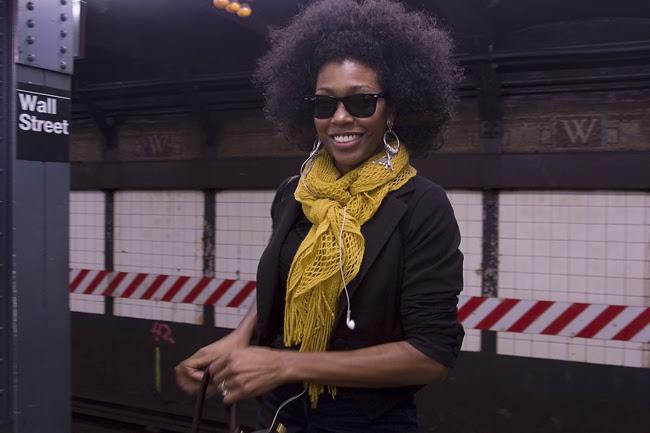New Yorker, on the subway platform