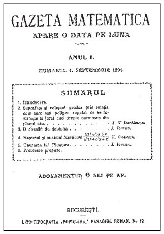 Istoricul Gazetei Matematice Gazeta Matematica