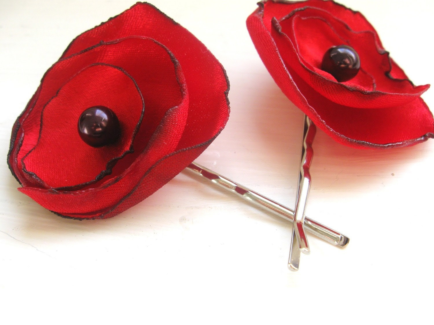 Spring Red Poppy bobby pin pair