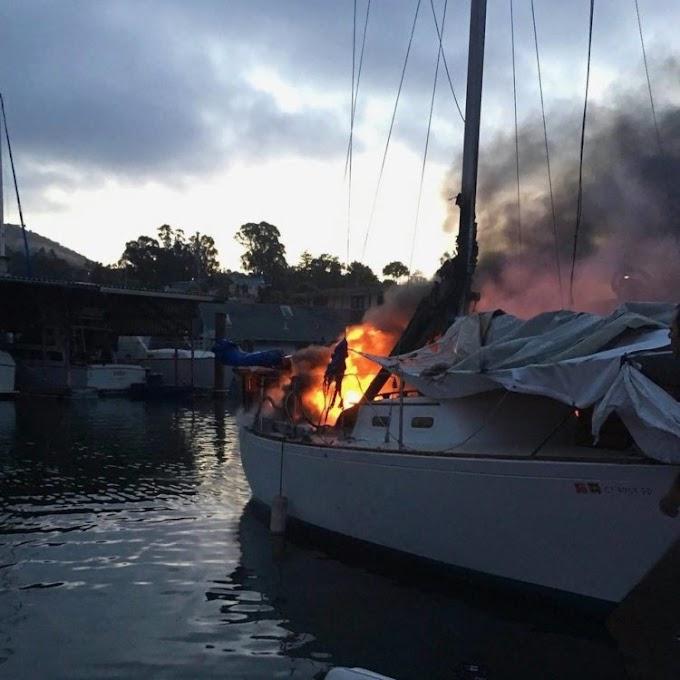 Oficial de policía llega justo a tiempo para rescatar a un perrito atrapado en un bote en llamas
