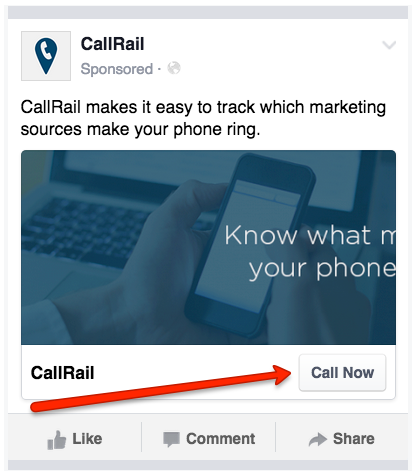 Here's an example of what Call Now buttons on Facebook look like. These buttons show up on mobile newsfeeds so users can click to call directly from the ad.
