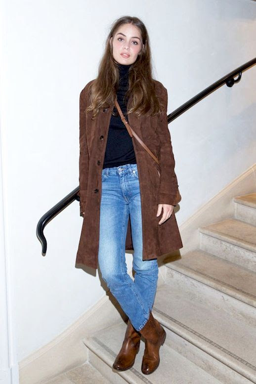 Le Fashion Blog Casual Style Marie Ange Casta Brown Suede Coat Vintage Style Jeans Brown Leather Boots Via Glamour Paris