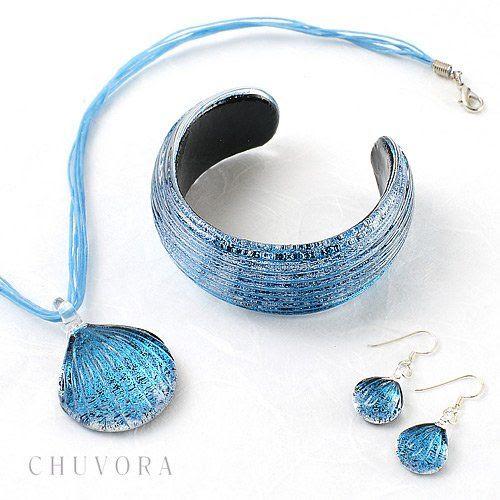 Chuvora Hand Blown Venetian Murano Glass Pendant Necklace Sea Shell Shaped, Ocean Blue: Chuvora: Jewelry