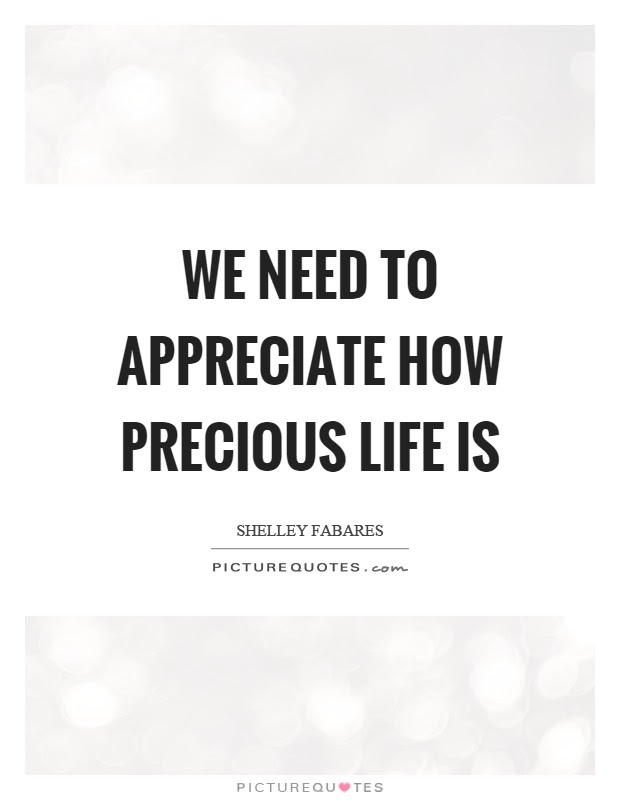 We Need To Appreciate How Precious Life Is Picture Quotes