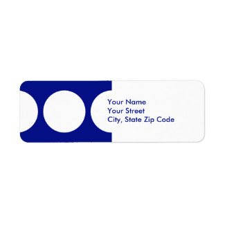 White Circles on Blue return address label