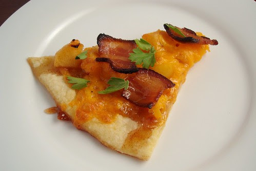 Cheddar Bacon and Caramelized Apple Pizza