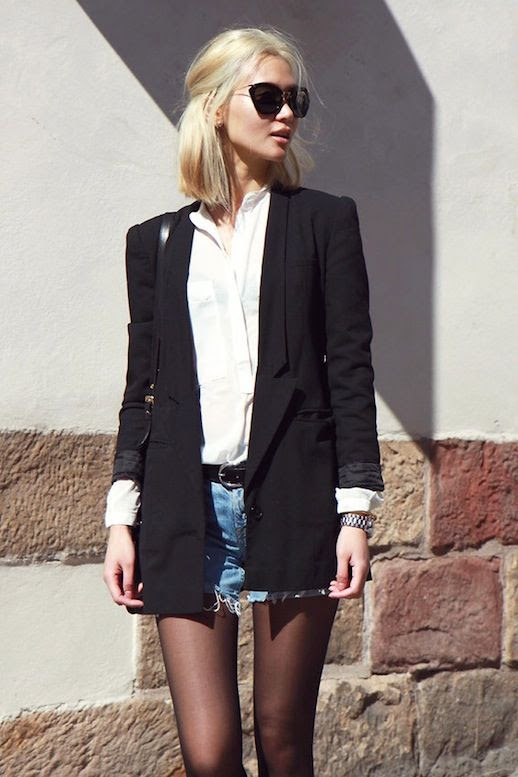 Le Fashion Blog Fall Style Blonde Sunglasses Long Black Blazer White Button Down Shirt Belt Cut Off Jean Shorts Sheer Tights Via Lookbook