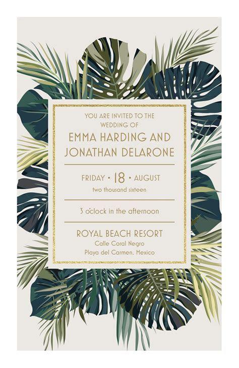 Palm Leaves Wedding Invitation   Vistaprint   Lovely Paper