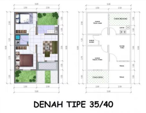 99+ Denah Rumah Minimalis 3 Kamar Tidur Type 36
