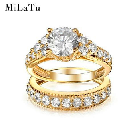 MiLaTu Luxury Bridal Wedding Ring Sets Gold color Cubic