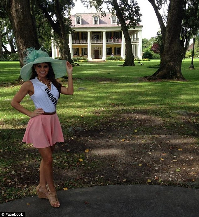 Seeing the sights: The 24-year-old beauty queen also took a break from pageant training to visit a house in Baton Rouge for high tea