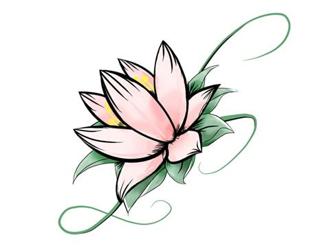 simple lotus flower drawing clipart