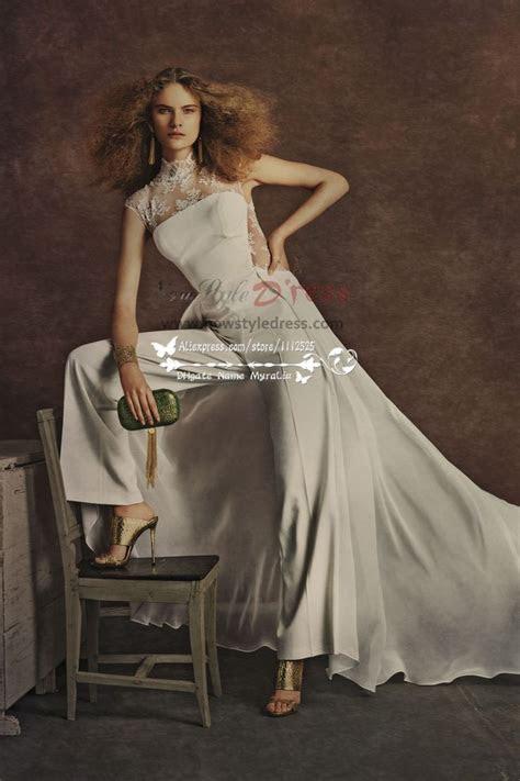 Elegant wedding pants bridal jumpsuit with train for