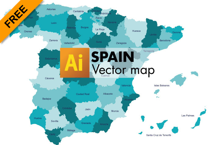 Map Of Spain Vector Free.Spain Map Vector Time Zones Map
