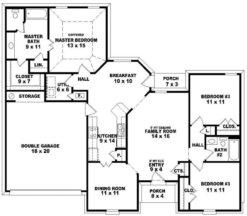 Lovely 3  Bedroom  2  Bath  1 Story House  Plans  New Home