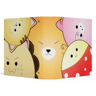 cute round animals notebook binder