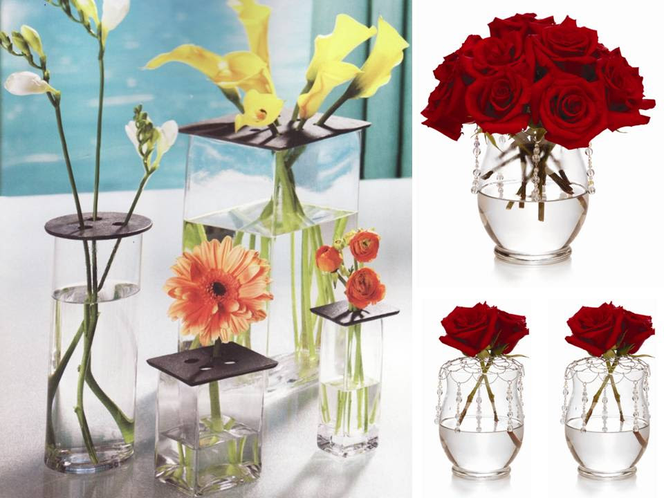 Chic DIY wedding flower centerpiece- red roses, clear vases | OneWed.