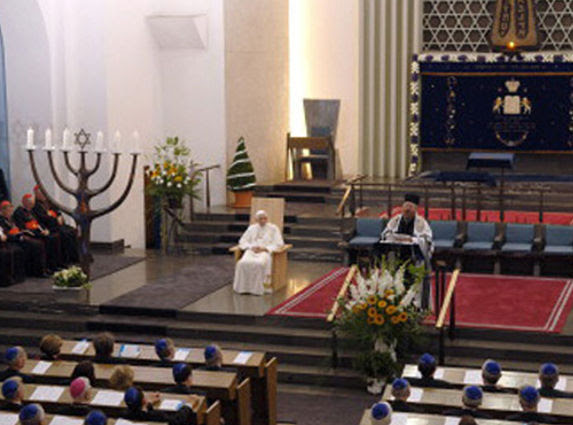 Anti Pope Benedict XVI in a synagogue in Cologne Germany 2005