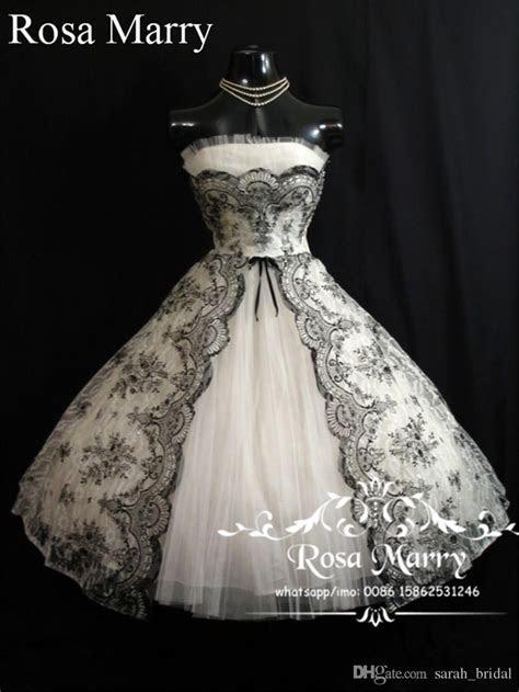 Discount Gothic 1950S Black White Short Wedding Dresses