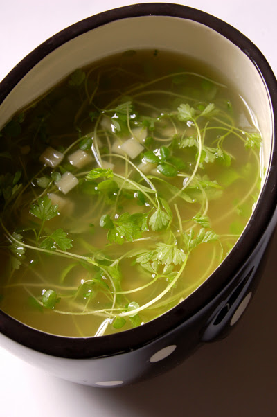 Quadratini with Micro Herb Soup