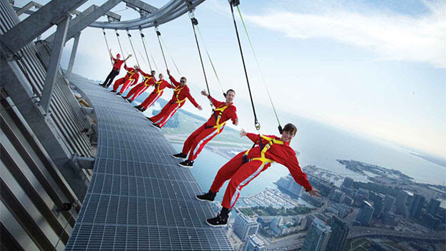 People hanging from CN Tower
