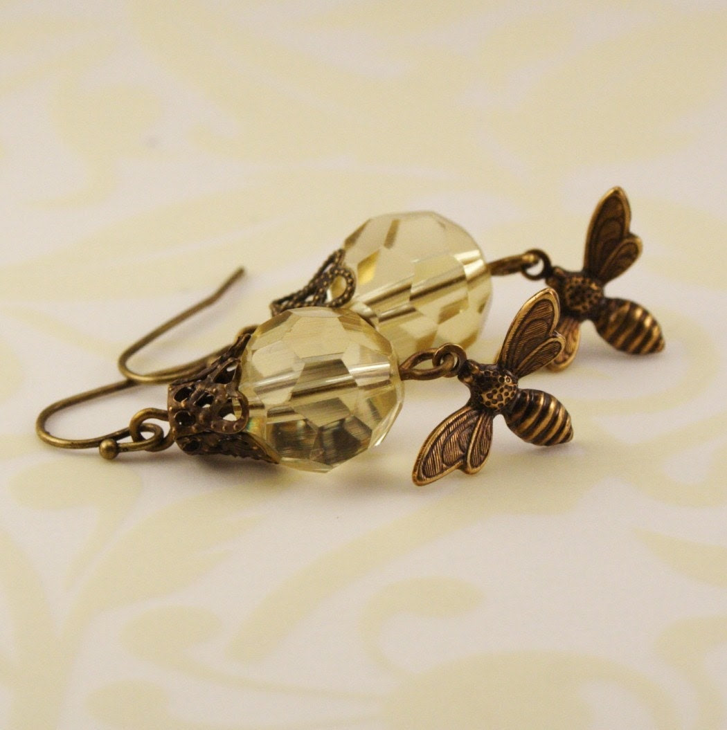Honeybee Brass Earrings