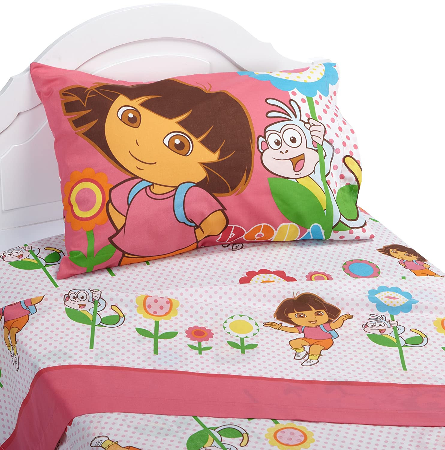 Amazon.com: Dora the Explorer Cheerful Bloom Twin Sheet Set