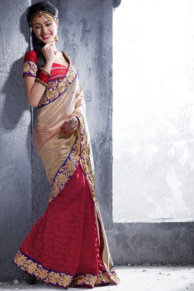 Indian-Brides-Bridal-Wedding-Party-Wear-Embroidered-Saree-Design-New-Fashion-Reception-Sari-17