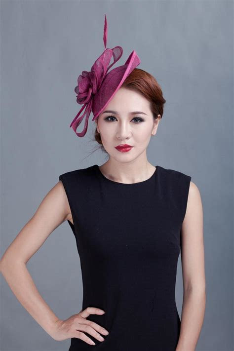 Fashion Feather Sinamay Fascinator Hats Women Hairwear