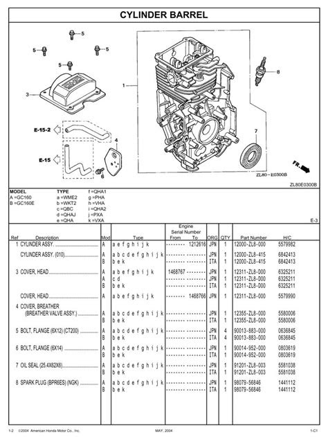 GC160 GC160E General Purpose Engine Parts Catalog | Honda