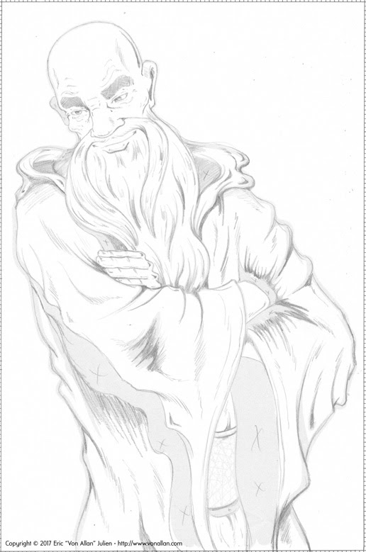 Preliminary sketch of Bill the Wizard from WIZARDS FOR HIRE - CHEAP! illustrated by Von Allan