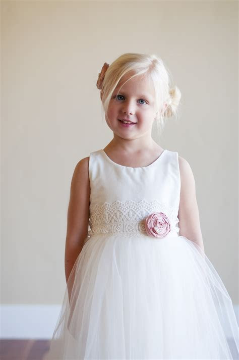 ivory flower girl dresses uk with dusty pink flower tulle