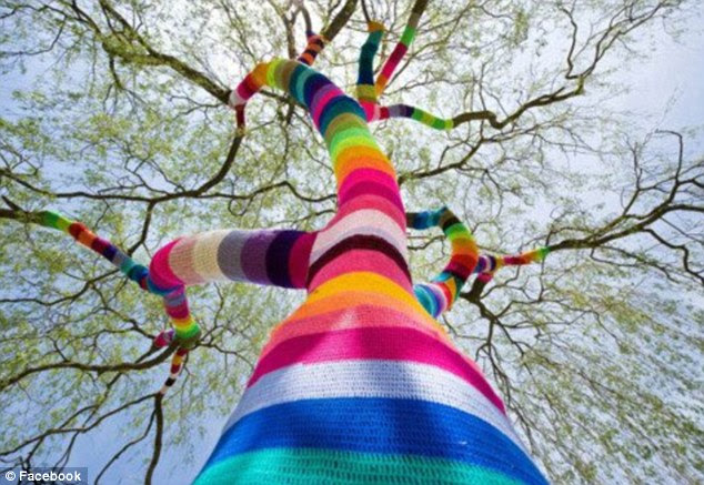 New heights: The guerilla knitters weren't put off by this tree's size and many branches