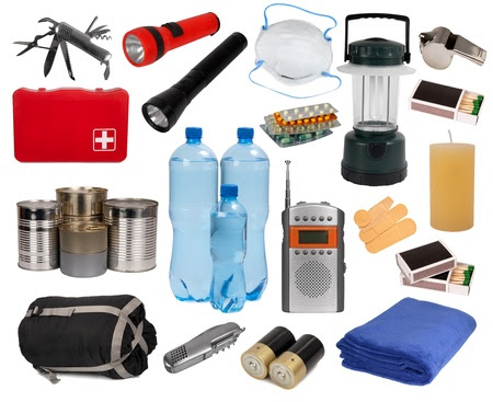 Objects useful in an emergency situation isolated on white  Stock Photo - 15320902