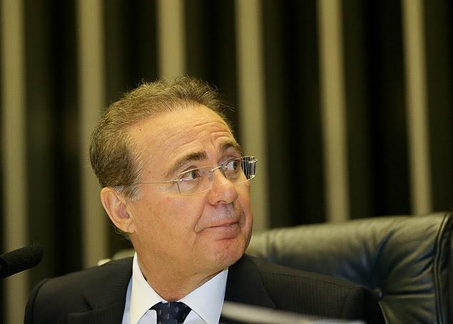O presidente do Senado, Renan Calheiros (PMDB-AL), em sessão no plenário da Casa