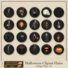 Halloween Clipart Flairs by Beckys Creations