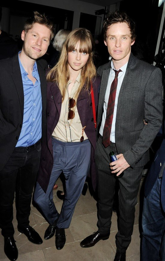 1 Christopher Bailey, Edie Campbell and Eddie Redmayne at the Burberry event in Knightsbridge London