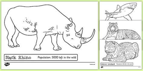 endangered animals colouring sheets endangered animals