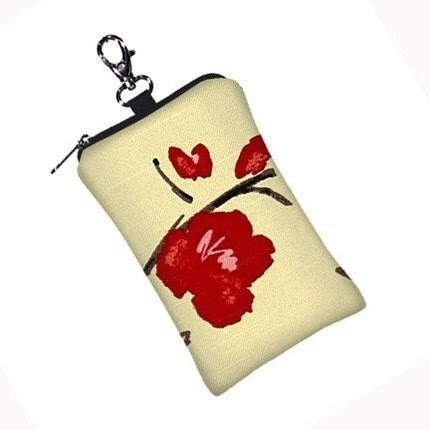 Gadget Keeper - padded case for  iPhone 3G,  iPod Touch,   Blackberry,  MP3 Player,   Camera, etc  - Asian Cherry Blossom
