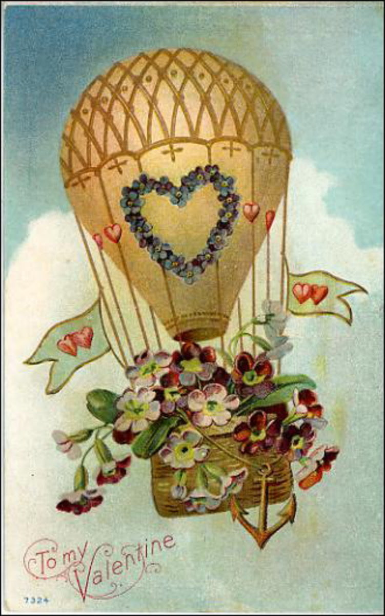 Victorian valentine card with hot air balloon filled with flowers
