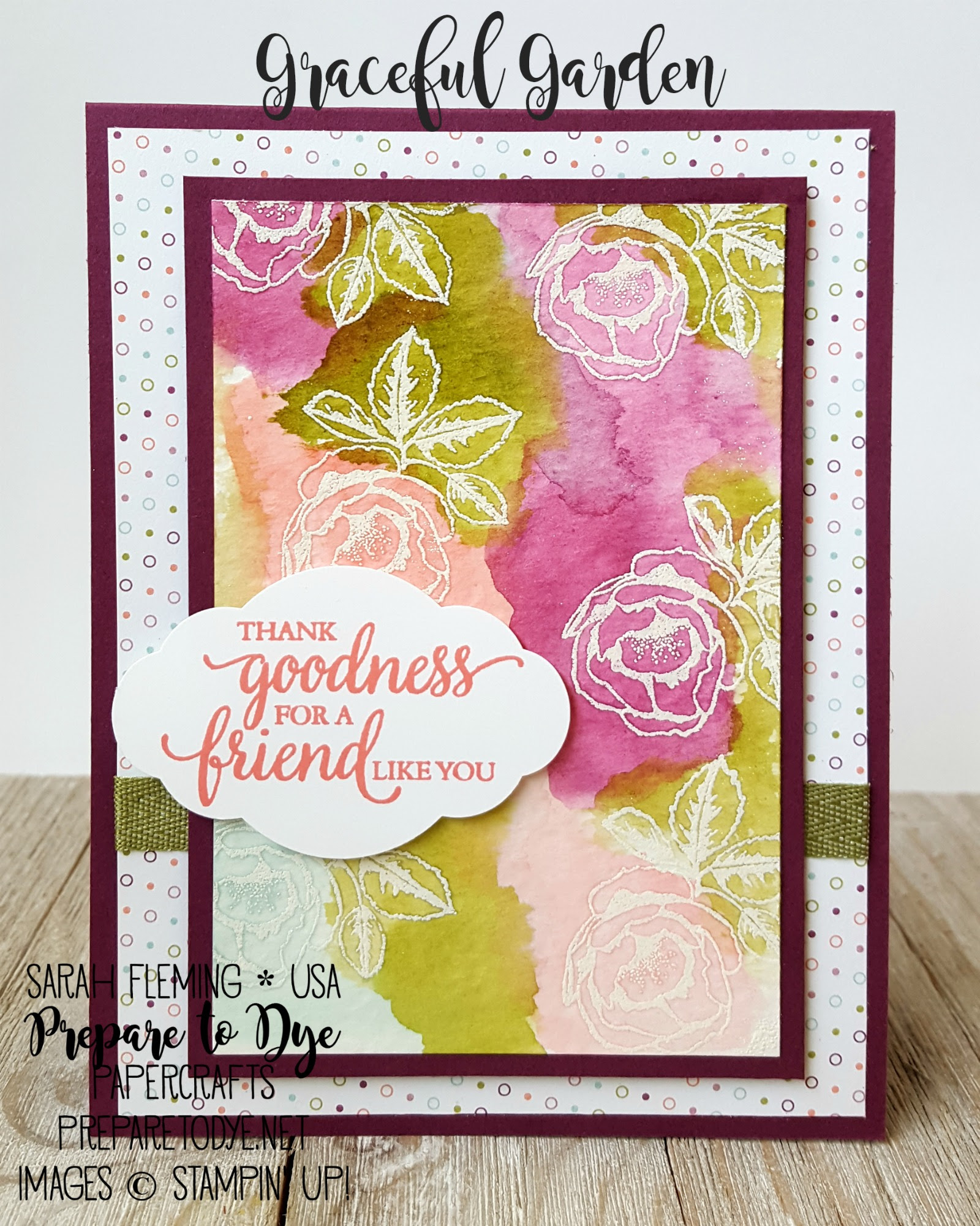 Stampin' Up! Graceful Garden and So Many Shells with Petal Garden DSP stack, Pretty Label Punch - Watercolor Emboss Resist - Sarah Fleming - Prepare to Dye Papercrafts