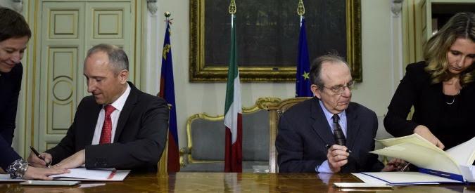Segreto bancario, firmato l'accordo con il Liechtenstein. Effetti a partire dal 2017