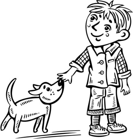 Dibujo De Nino Pequeno Paseando A Su Perro Para Colorear Dibujos